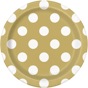 "Gold Dots 7"" Plates (8 Count)"