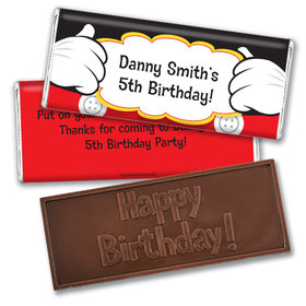 Personalized Birthday Mickey Party Embossed Chocolate Bar & Wrapper