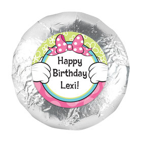 "Personalized Birthday Miss Mouse 1.25"" Stickers (48 Stickers)"