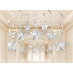 Silver Foil Star Hanging Decorations (30 Count)