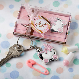 Pink Baby Carriage Key Chain Favor (Each)