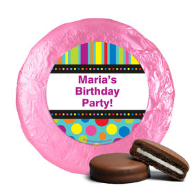 Birthday Stripes & Dots Personalized Milk Chocolate Covered Oreos (24 Pack)