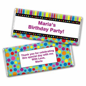 Birthday Stripes & Dots Personalized Chocolate Bar