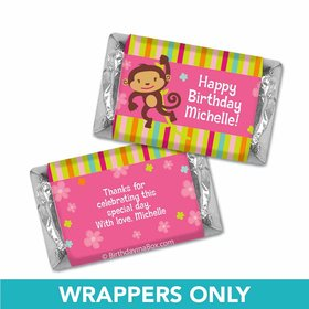 Birthday Girl Monkey Personalized Hershey's Miniatures Wrappers