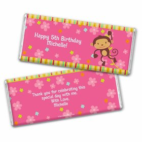 Birthday Girl Monkey Personalized Chocolate Bar