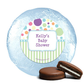 Baby Shower Blue Stripe Personalized Milk Chocolate Covered Oreos (24 Pack)