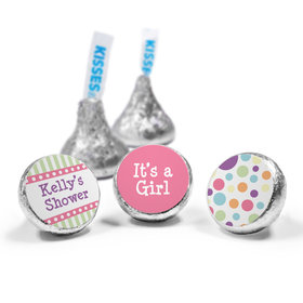 Baby Shower Pink Stripe Personalized Hershey's Kisses Candy (50 Pack)