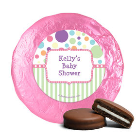 Baby Shower Pink Stripe Personalized Milk Chocolate Covered Oreos (24 Pack)