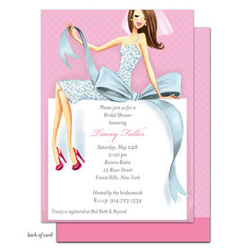 Bonnie Marcus Collection Personalized Beautiful Bride with Bow - Brunette Invitation