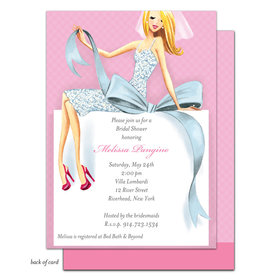 Bonnie Marcus Collection Personalized Beautiful Bride with Bow - Blonde Invitation