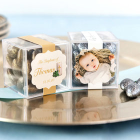 Personalized Baptism JUST CANDY® favor cube with Premium Almond Jewels