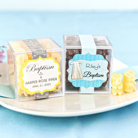 Personalized Baptism JUST CANDY® favor cube with Premium Chocolate Covered Gummy Bears