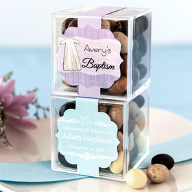 Personalized Baptism JUST CANDY® favor cube with Premium New York Espresso Beans