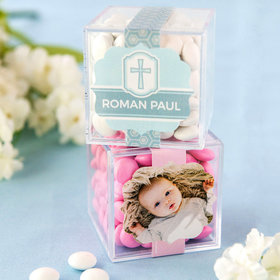 Personalized Baptism JUST CANDY® favor cube with Just Candy Milk Chocolate Minis
