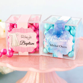Personalized Baptism JUST CANDY® favor cube with Sixlets Chocolate
