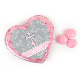 Baptism Favors Assembled Acrylic Heart Container with Just Candy Milk Chocolate Minis