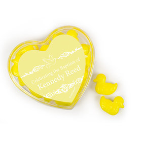 Baptism Favors Assembled Acrylic Heart Container with Quackers Ducks