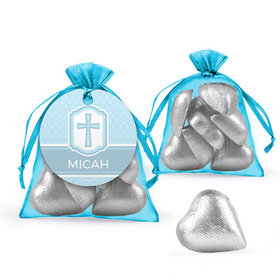 Personalized Baptism Favor Assembled Organza Bag with Milk Chocolate Hearts
