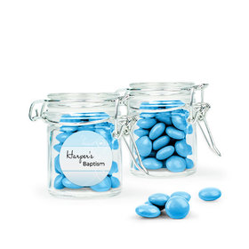 Personalized Baptism Favor Assembled Swing Top Round Jar with Just Candy Milk Chocolate Minis