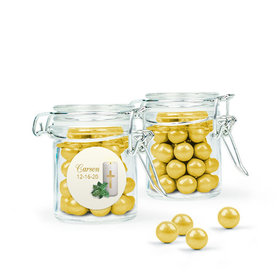 Personalized Baptism Favor Assembled Swing Top Round Jar with Sixlets