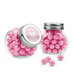Personalized Baptism Favor Assembled Mini Side Jar with Sixlets