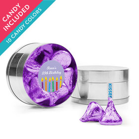 Personalized Birthday Favor Assembled Small Round Plastic Tin with Hershey's Kisses