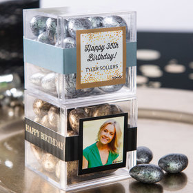 Personalized Birthday JUST CANDY® favor cube with Premium Almond Jewels