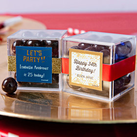 Personalized Birthday JUST CANDY® favor cube with Premium Barrel Aged Bourbon Cordials - Dark Chocolate