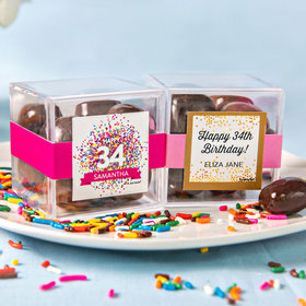 Personalized Birthday JUST CANDY® favor cube with Premium Milk & Dark Chocolate Sea Salt Caramels
