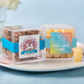 Personalized Birthday JUST CANDY® favor cube with Premium Chocolate Covered Gummy Bears