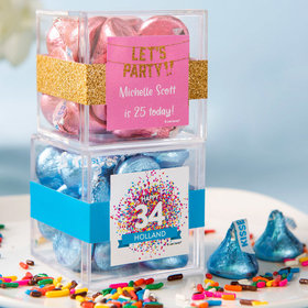 Personalized Birthday JUST CANDY® favor cube with Hershey's Kisses
