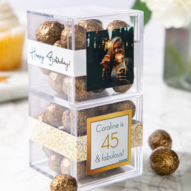Personalized Birthday JUST CANDY® favor cube with Premium Sparkling Prosecco Cordials - Dark Chocolate