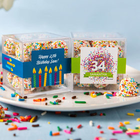 Personalized Birthday JUST CANDY® favor cube with Rainbow Berries