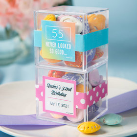 Personalized Birthday JUST CANDY® favor cube with Premium Milk Chocolate Candy Sea Shells