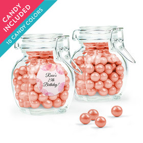 Personalized Birthday Favor Assembled Swing Top Jar with Sixlets
