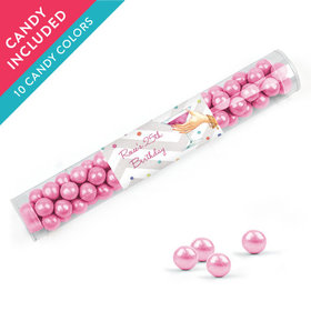 Personalized Birthday Favor Assembled Clear Tube with Sixlets