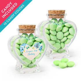 Personalized Birthday Favor Assembled Heart Jar with Just Candy Milk Chocolate Minis