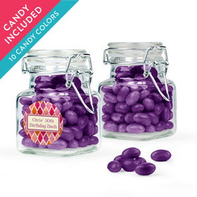 Personalized Birthday Favor Assembled Swing Top Square Jar with Just Candy Jelly Beans