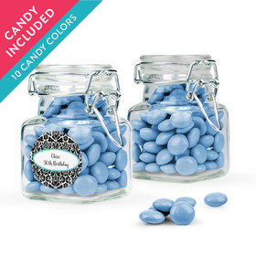 Personalized Birthday Favor Assembled Swing Top Square Jar with Just Candy Milk Chocolate Minis