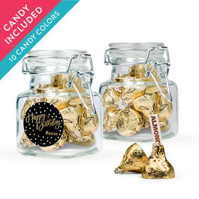 Personalized Birthday Favor Assembled Swing Top Square Jar with Hershey's Kisses