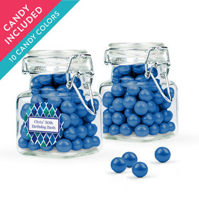Personalized Birthday Favor Assembled Swing Top Square Jar with Sixlets