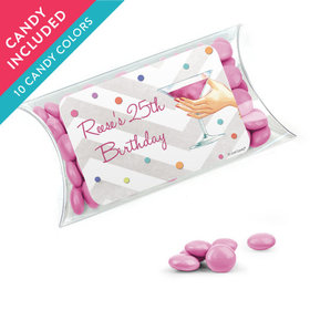 Personalized Birthday Favor Assembled Pillow Box with Just Candy Milk Chocolate Minis