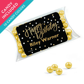 Personalized Birthday Favor Assembled Pillow Box with Sixlets
