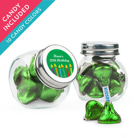 Personalized Birthday Favor Assembled Mini Side Jar with Hershey's Kisses