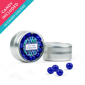 Personalized Birthday Favor Assembled Mini Round Tin with Sixlets