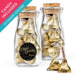 Personalized Birthday Favor Assembled Glass Bottle with Cork Top with Hershey's Kisses