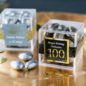 Personalized Milestone 100th Birthday JUST CANDY® favor cube with Premium Almond Jewels