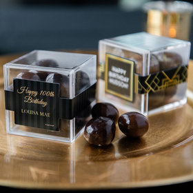 Personalized Milestone 100th Birthday JUST CANDY® favor cube with Premium Milk & Dark Chocolate Sea Salt Caramels