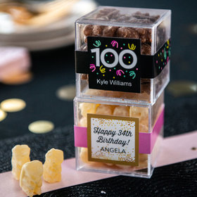Personalized Milestone 100th Birthday JUST CANDY® favor cube with Premium Chocolate Covered Gummy Bears