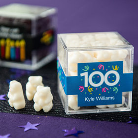 Personalized Milestone 100th Birthday JUST CANDY® favor cube with Gummy Bears